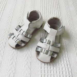 GROSBY white and silver leather sandals